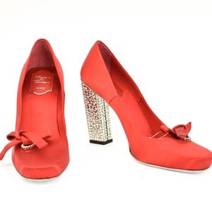 ROGER VIVIER Red Satin & Bow Crystal-Covered Heels